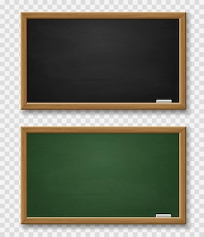 Realistic green and black chalkboard with wooden frame and chalk