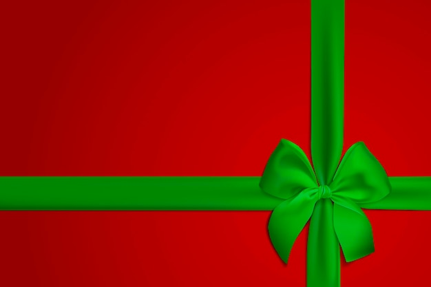 Realistic green bow and ribbon isolated on red background template for brochure or greeting card