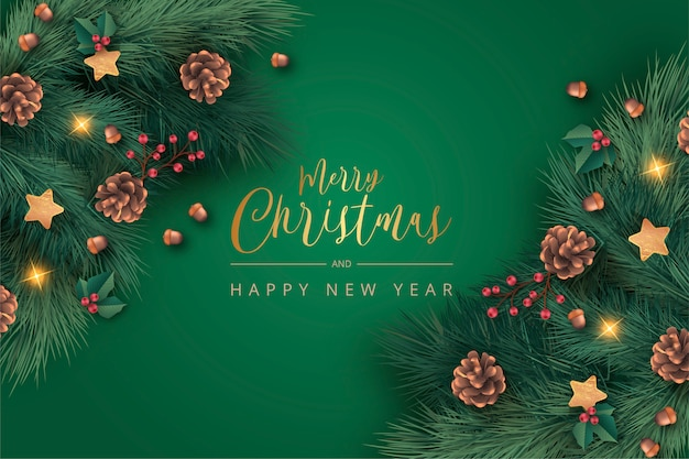 Realistic green christmas background