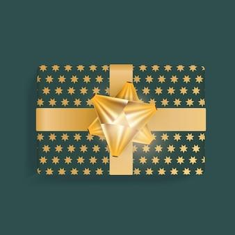 금색 별, 금색 리본, 활이 있는 현실적인 녹색 선물 상자. 위에서 볼 수 있습니다. 벡터 일러스트 레이 션.