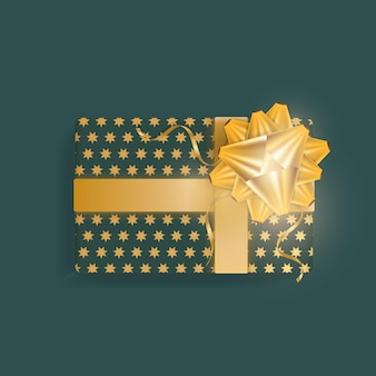 Realistic green gift box with gold stars, gold ribbons and bow. view from above.