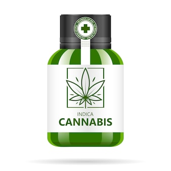 Realistic green glass bottle with cannabis.  hemp oil extracts, tablets or capsules in jars. medical marijuana logo on the label.   illustration.