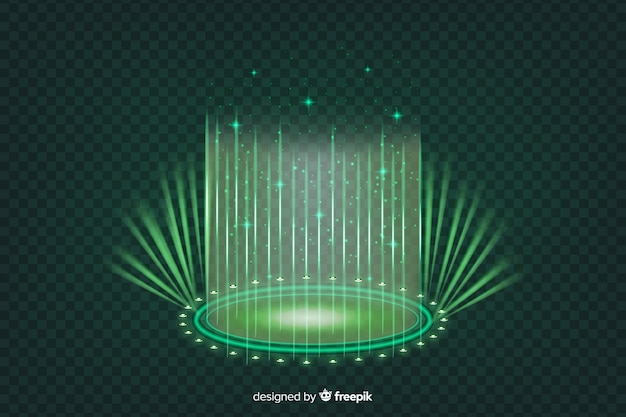 Realistic green hologram portal background