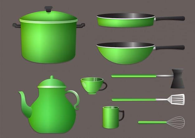 現実的な緑の台所用品セット。