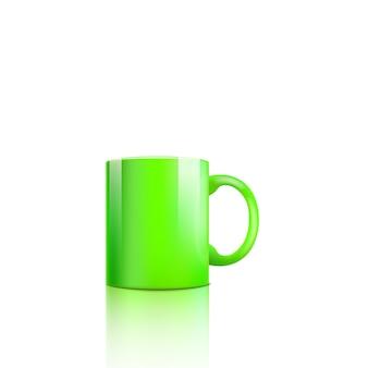 Реалистичная зеленая кружка с глянцевой поверхностью и отражением света на белом фоне - классическая стандартная чашка с пустым пространством для копии - иллюстрация.