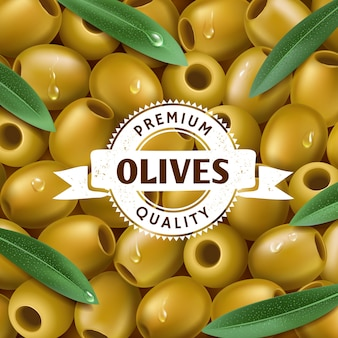 Realistic green olives background, with a leafs. olive label, icon. illustration