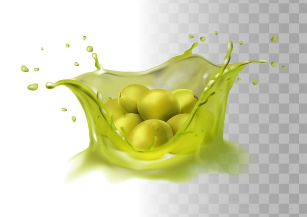 Realistic green olives on oil