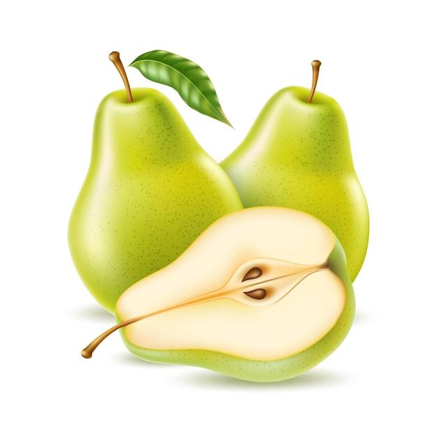 Реалистичная зеленая груша целиком и наполовину для органических продуктов питания, дизайн продукта для напитков. свежие сладкие фрукты, полные витаминов для здорового питания, диеты. натуральный продукт, фруктовый спелый десерт.