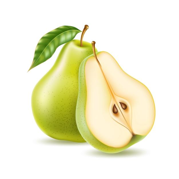Реалистичная зеленая груша целиком и наполовину для органических продуктов Premium векторы