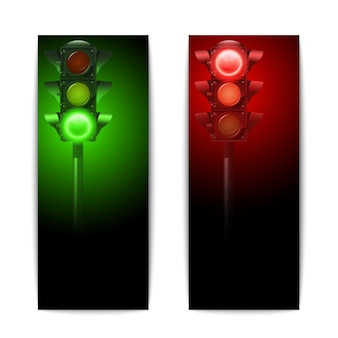 Realistic green and red traffic lights vertical banners set