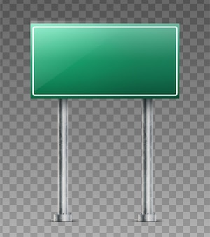 Realistic green road sign isolated on white