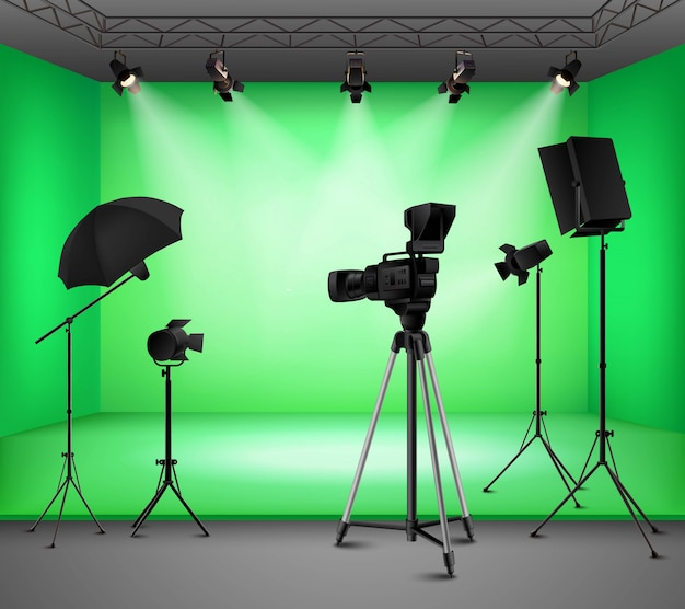 Realistic green screen studio interior