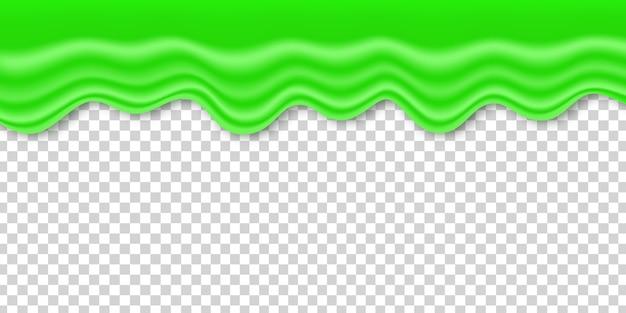 テンプレートの装飾と透明な背景を覆うための現実的な緑のスライム。ハッピーハロウィンのコンセプトです。
