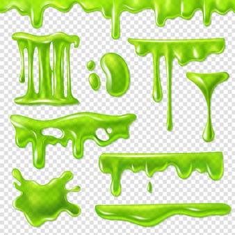 현실적인 녹색 점액. 끈적 끈적한 독성 얼룩, 끈적 끈적한 얼룩 및 점액 얼룩. 할로윈 액체 장식 테두리 코딱지 시럽 세트