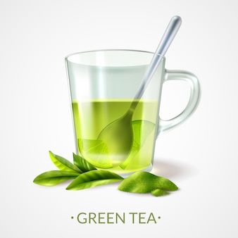 Realistic green tea and cup with spoon vector illustration