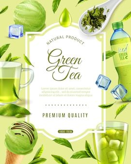 Realistic green tea frame  with ornate text and round composition of various tea products images vector illustration