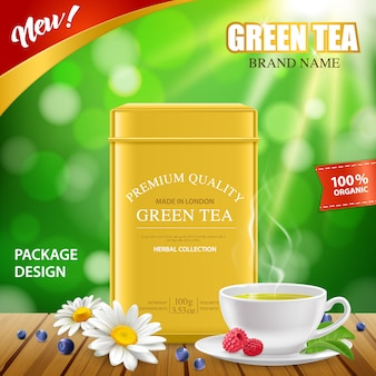 Realistic green tea tin box