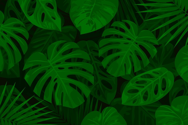 Realistic green tropical leaves background