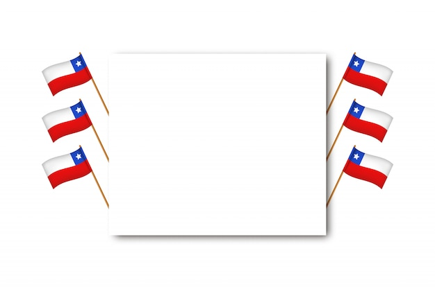 Realistic  greeting card with flags for independence day in chile for decoration and covering on the white background. concept of felices fiestas patrias.