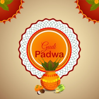 Realistic gudi padwa and abstract background with kalash