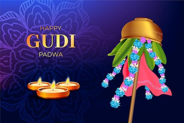 Realistic gudi padwa day theme