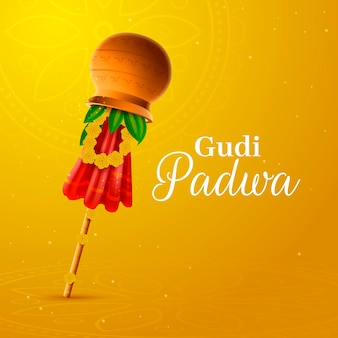 Realistic gudi padwa flag with lettering