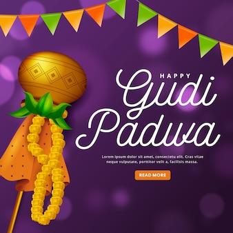 Realistic gudi padwa with decoration
