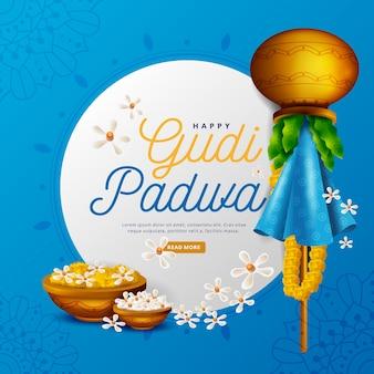 Realistic gudi padwa with flowers