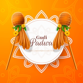 Realistic gudi padwa with traditional flags