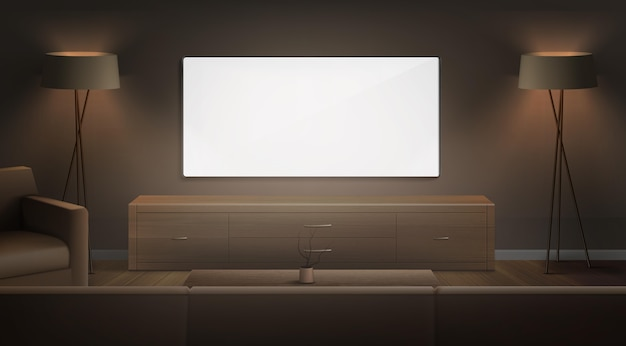Realistic hall furniture in night time