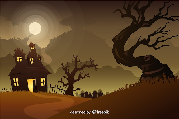 Realistic halloween background with hounted house