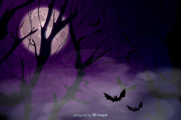 Realistic halloween background with mist and bats