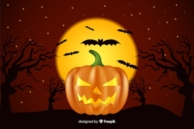 Realistic halloween background with pumpkin and bats
