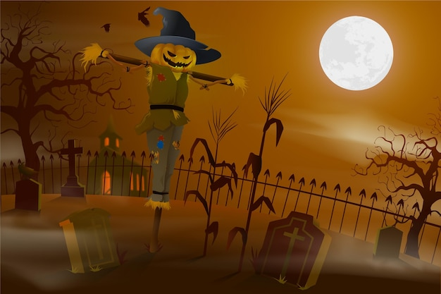 Realistic halloween background with scarecrow