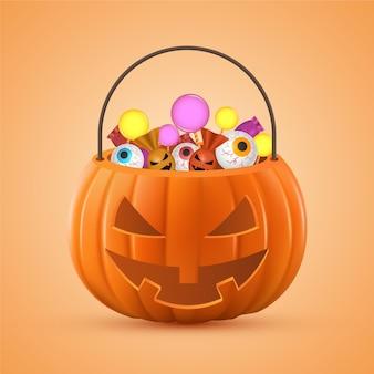 Реалистичная иллюстрация сумки на хэллоуин