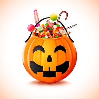 Realistic halloween bag with candy