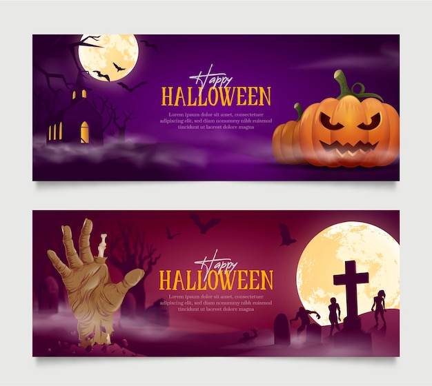Realistic halloween banners collection
