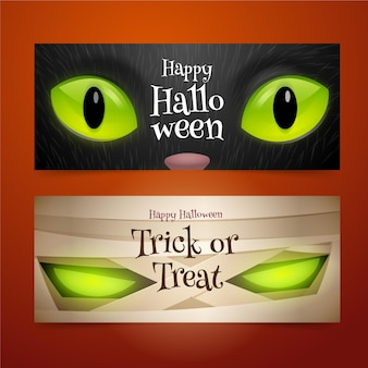 Realistic halloween banners concept