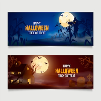 Realistic halloween banners set