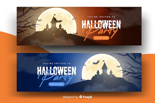 Realistic halloween banners with haunted house