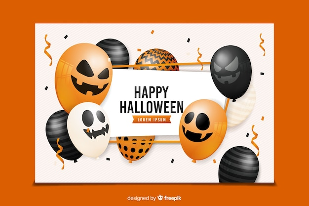 Realistic halloween banners with variety of balloons