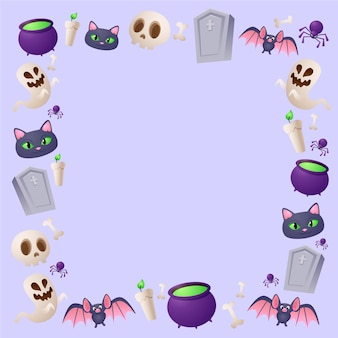 Realistic halloween borders collection