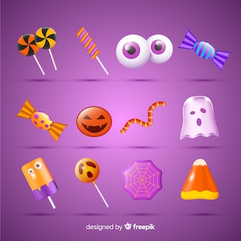 Realistic halloween candy collection on pink background
