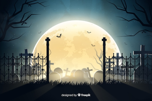 Realistic halloween cemetery background