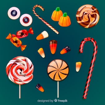 Realistic halloween delicious candy collection