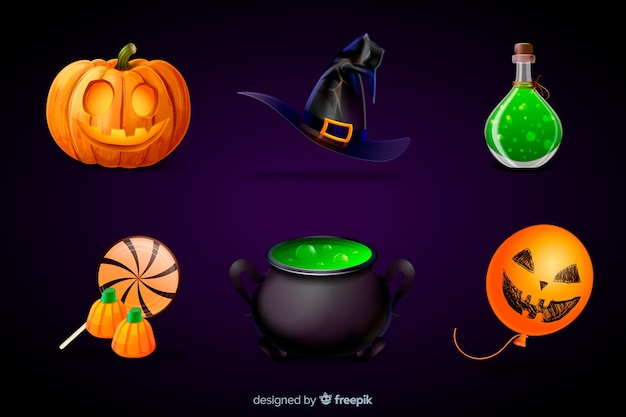 Realistic halloween element collection