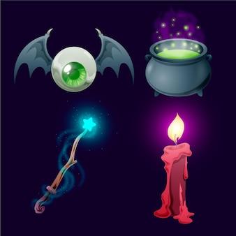 Collezione realistica di elementi di halloween