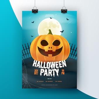 Realistic halloween flyer template
