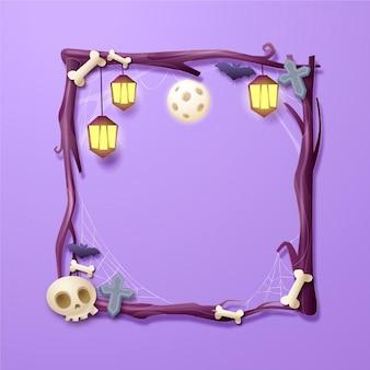 Realistic halloween frame template