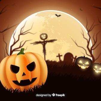 Realistico halloween luna piena sullo sfondo